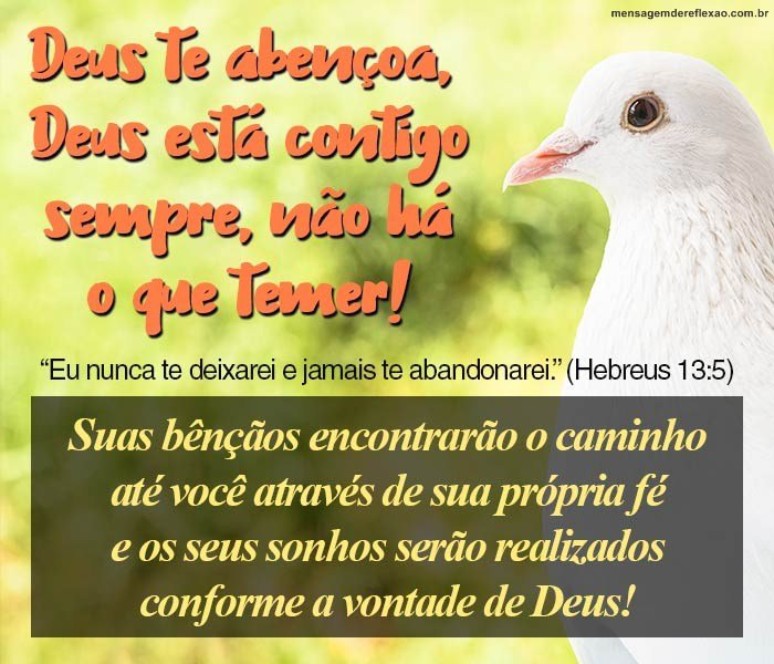 Deus te Abençoa, Deus está Contigo!