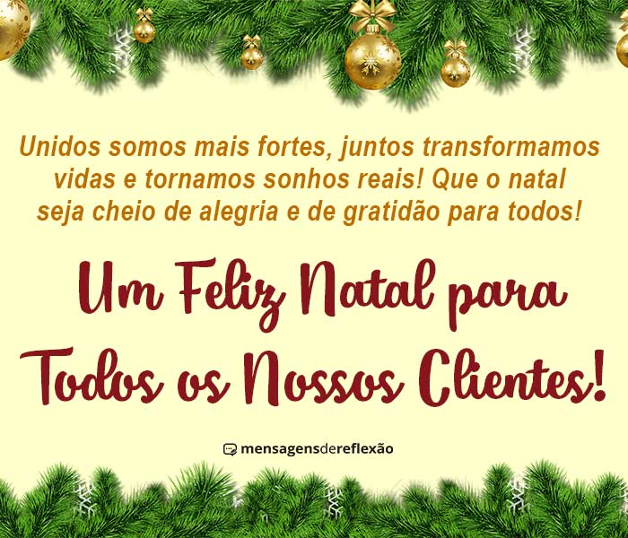 Mensagem de Feliz Natal para Clientes