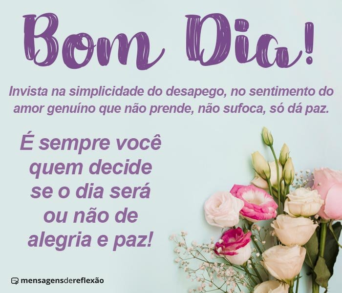 Bom dia! Seja Simples, Ame, Alimente a Paz